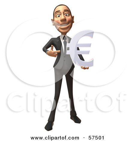 Royalty-Free (RF) Clipart Illustration of a 3d White Corporate Businessman Character Holding A Euro Symbol - Version 4 by Julos