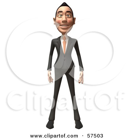 Royalty-Free (RF) Clipart Illustration of a 3d Asian Businessman Character Standing And Facing Front by Julos