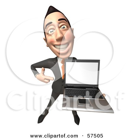 Royalty-Free (RF) Clipart Illustration of a 3d Asian Businessman Character Holding A Laptop With A Blank Screen - Version 3 by Julos