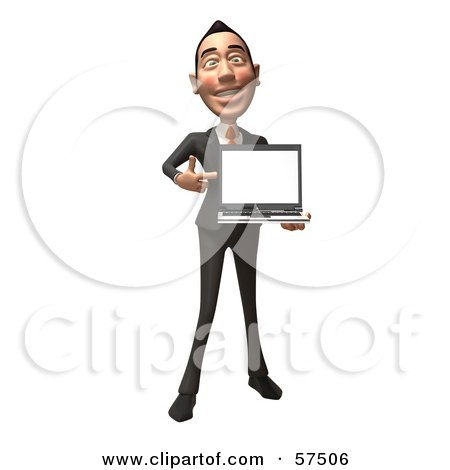 Royalty-Free (RF) Clipart Illustration of a 3d Asian Businessman Character Holding A Laptop With A Blank Screen - Version 1 by Julos
