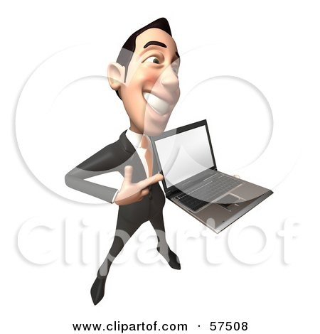 Royalty-Free (RF) Clipart Illustration of a 3d Asian Businessman Character Holding A Laptop With A Blank Screen - Version 4 by Julos