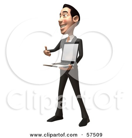 Royalty-Free (RF) Clipart Illustration of a 3d Asian Businessman Character Holding A Laptop With A Blank Screen - Version 2 by Julos