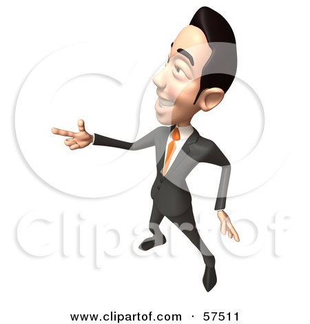 Royalty-Free (RF) Clipart Illustration of a 3d Asian Businessman Character Pointing His Fingers Like A Gun - Version 5 by Julos