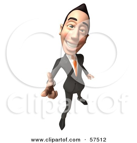 Royalty-Free (RF) Clipart Illustration of a 3d Asian Businessman Character Pointing His Fingers Like A Gun - Version 4 by Julos