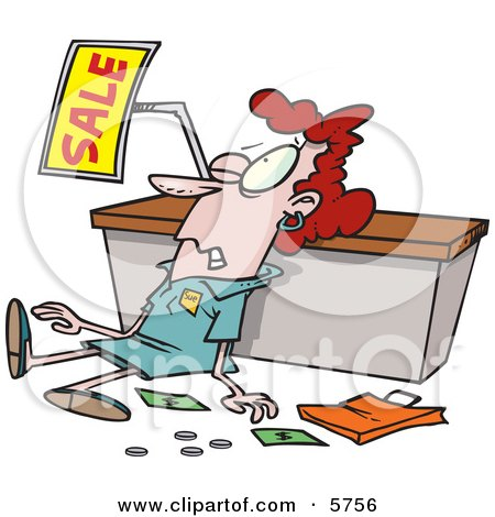 Employee Trampled During a Sale Clipart Illustration by toonaday