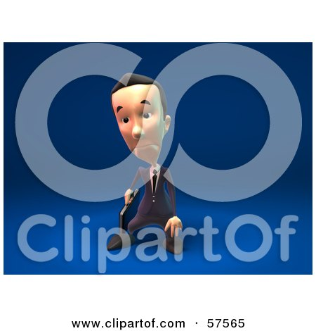 Royalty-Free (RF) Clipart Illustration of a 3d Short Businessman Character Pouting - Version 3 by Julos