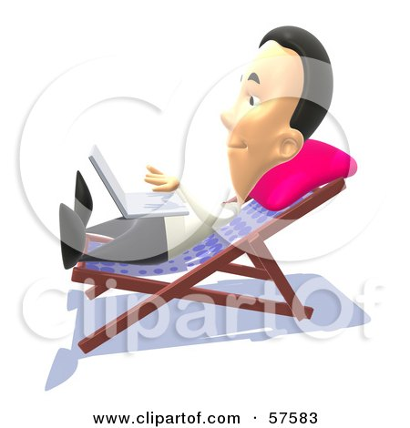 Royalty-Free (RF) Clipart Illustration of a 3d Man Sun Bathing And Using A Laptop - Version 2 by Julos