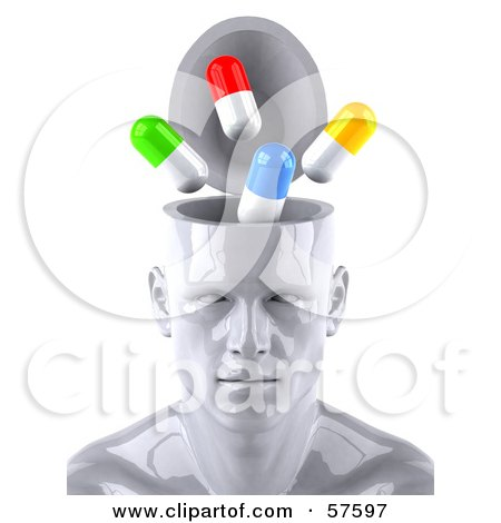 3d White Male Head Character With A Drug Addiction - Version 1 Posters, Art Prints