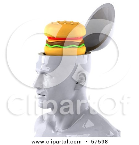 3d White Male Head Character With A Cheeseburger - Version 1 Posters, Art Prints