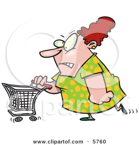 Stressed Out Woman Pushing a Shopping Cart Clipart Illustration by toonaday