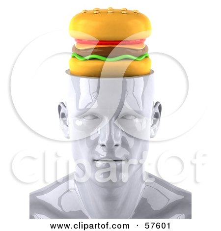 3d White Male Head Character With A Cheeseburger - Version 2 Posters, Art Prints