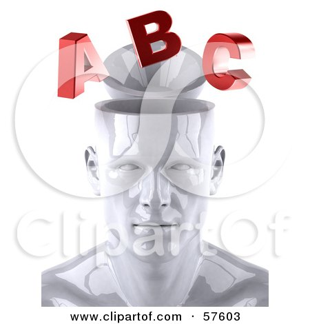 Royalty-Free (RF) Clipart Illustration of a 3d White Male Head Character With Red Letters - Version 1 by Julos