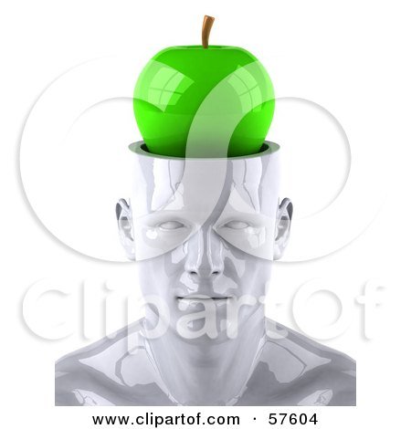 3d White Male Head Character With A Green Apple Posters, Art Prints