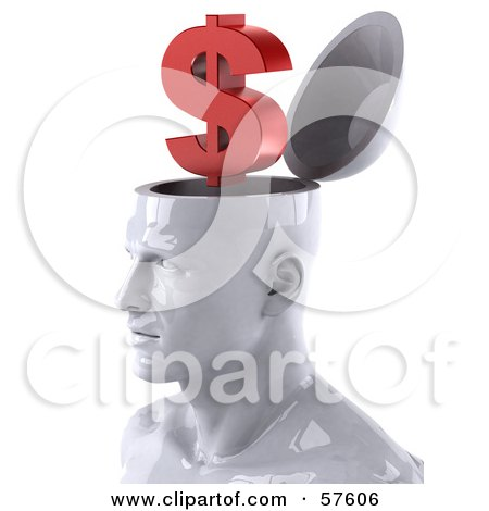 3d White Male Head Character With A Dollar Symbol Posters, Art Prints