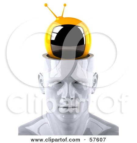 3d White Male Head Character With A TV - Version 1 Posters, Art Prints