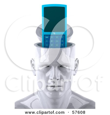 3d White Male Head Character With A Cell Phone Posters, Art Prints