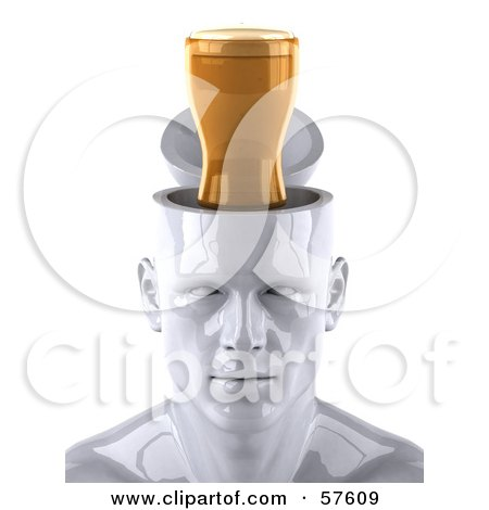 3d White Male Head Character With A Beer - Version 1 Posters, Art Prints