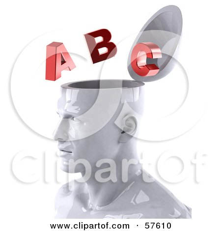 3d White Male Head Character With Red Letters - Version 2 Posters, Art Prints