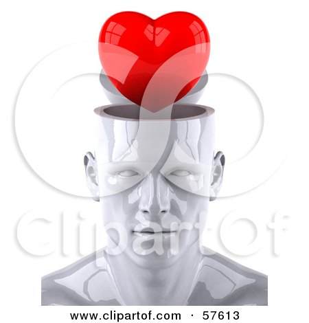 3d White Male Head Character With A Red Heart Posters, Art Prints