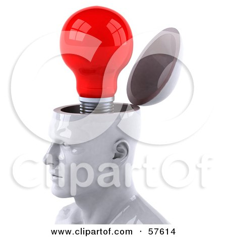 3d White Male Head Character With A Red Light Bulb Posters, Art Prints