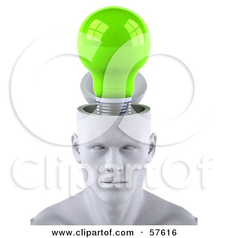 Royalty-Free (RF) Clipart Illustration of a 3d White Male Head Character With A Green Light Bulb by Julos