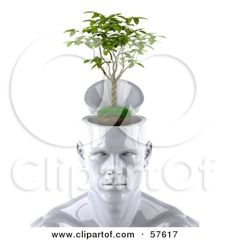 Royalty-Free (RF) Clipart Illustration of a 3d White Male Head Character With A Plant - Version 1 by Julos