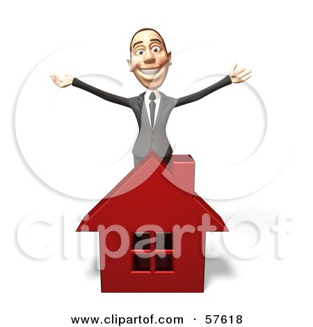 Royalty-Free (RF) Clipart Illustration of a 3d White Corporate Businessman Character Standing Behind A House by Julos