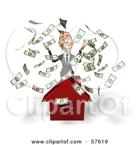 Royalty-Free (RF) Clipart Illustration of a 3d White Corporate Businessman Character Throwing Money And Standing Behind A House by Julos