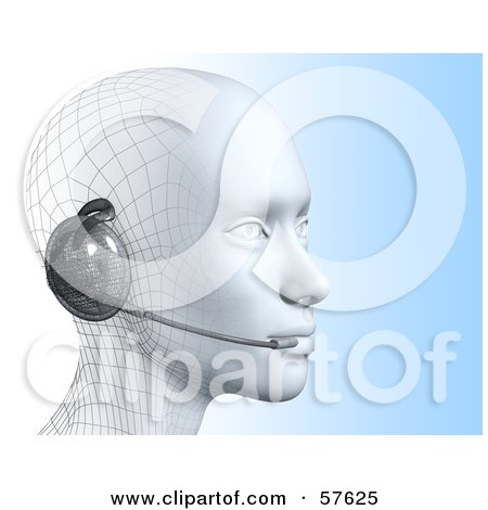 Royalty-Free (RF) Clipart Illustration of a 3d Customer Service Head Wearing A Headset - Version 4 by Julos