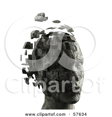 Royalty-Free (RF) Clipart Illustration of a 3d Womans Head With Floating Particles - Version 8 by Julos