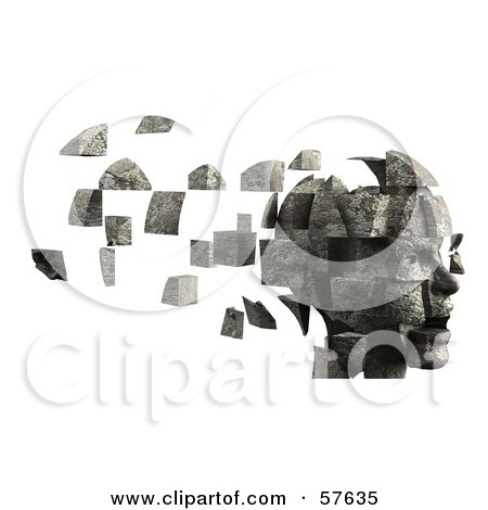 Royalty-Free (RF) Clipart Illustration of a 3d Womans Head With Floating Particles - Version 6 by Julos