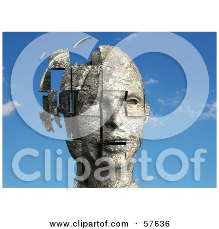 Royalty-Free (RF) Clipart Illustration of a 3d Womans Head With Floating Particles - Version 1 by Julos
