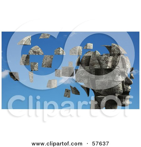 Royalty-Free (RF) Clipart Illustration of a 3d Womans Head With Floating Particles - Version 2 by Julos