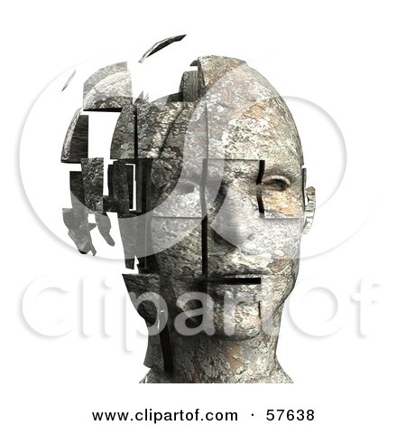Royalty-Free (RF) Clipart Illustration of a 3d Womans Head With Floating Particles - Version 5 by Julos