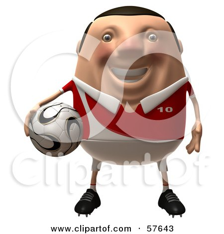 Royalty-Free (RF) Clipart Illustration of a 3d Chubby Soccer Steve Character Holding A Ball - Version 1 by Julos