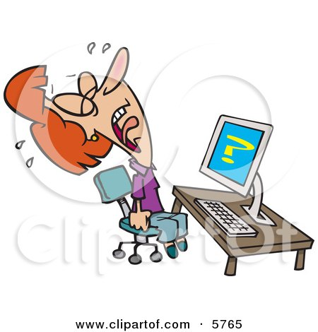 Woman Screaming And Crying In Frustration While Getting Computer Errors Clipart Illustration