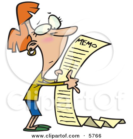 Woman Reading a Very Long Memorandum Clipart Illustration by toonaday