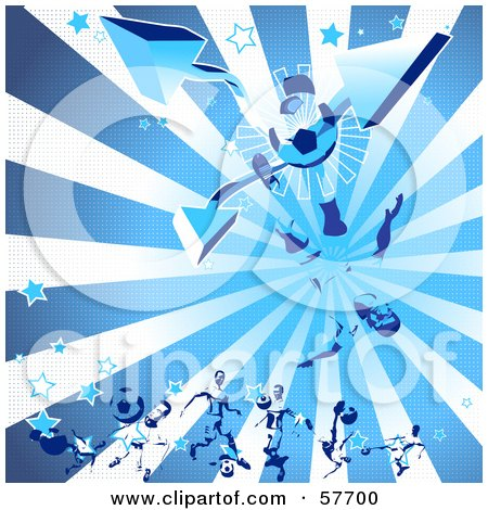 Royalty-Free (RF) Clipart Illustration of a Blue Background Of A Soccer Guy Kicking A Ball, With Arrows, Stars, And Rays by Julos