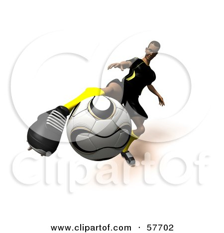 Royalty-Free (RF) Clipart Illustration of a 3d Soccer Guy Character Kicking A Soccer Ball - Version 13 by Julos