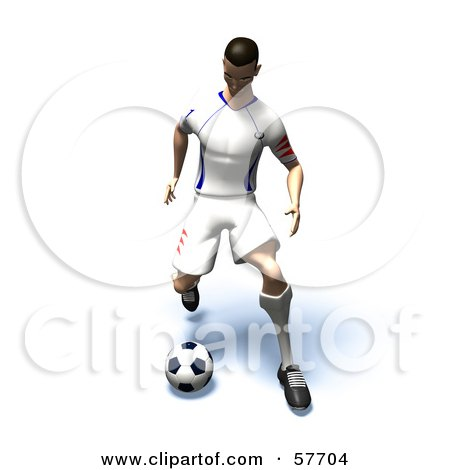 Royalty-Free (RF) Clipart Illustration of a 3d Soccer Guy Character Kicking A Soccer Ball - Version 16 by Julos