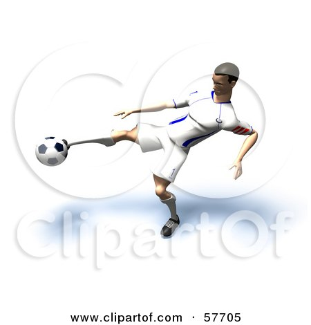Royalty-Free (RF) Clipart Illustration of a 3d Soccer Guy Character Kicking A Soccer Ball - Version 19 by Julos