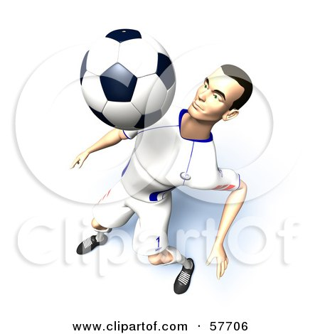 Royalty-Free (RF) Clipart Illustration of a 3d Soccer Guy Character Bouncing A Ball Off Of His Chest - Version 9 by Julos