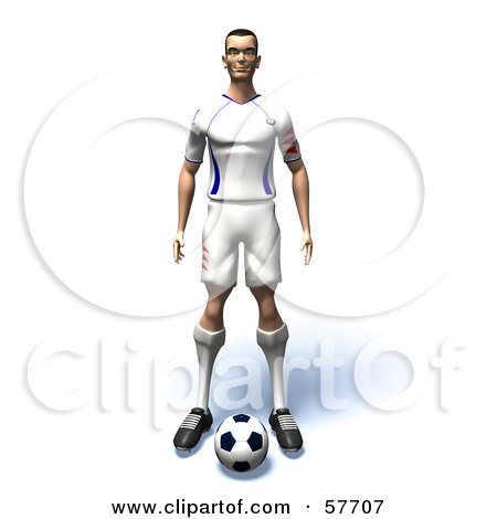 Royalty-Free (RF) Clipart Illustration of a 3d Soccer Guy Character Standing Over A Soccer Ball - Version 1 by Julos