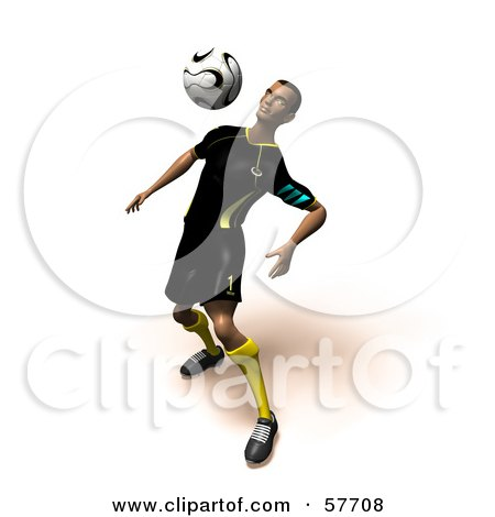 Royalty-Free (RF) Clipart Illustration of a 3d Soccer Guy Character Bouncing A Ball Off Of His Chest - Version 5 by Julos