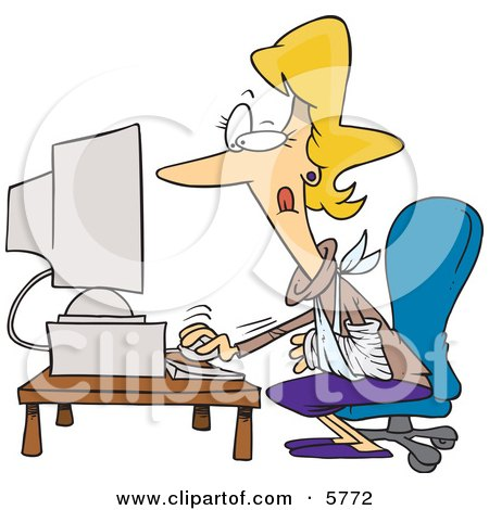 Injured Blond Woman Using a Desktop Computer Clipart Illustration by toonaday