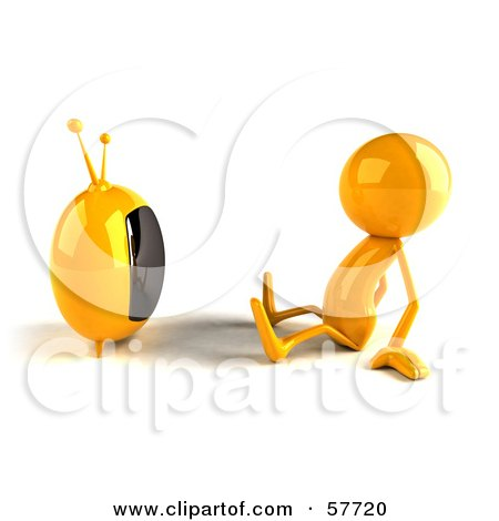 3d Yellow Bob Character Watching Television - Version 1 Posters, Art Prints