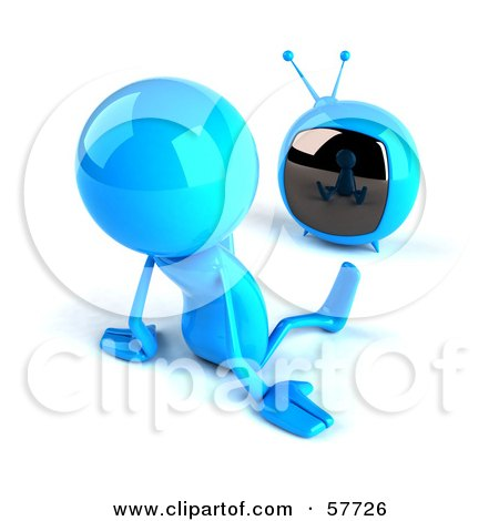 3d Blue Bob Character Watching Television - Version 2 Posters, Art Prints