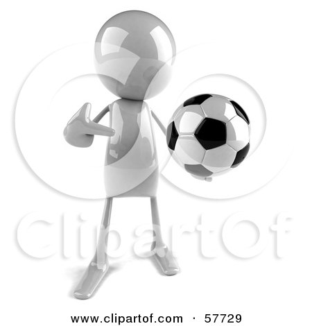 3d White Bob Character Playing Soccer - Version 1 Posters, Art Prints