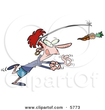 Dieting Woman Chasing a Chocolate Covered Carrot on a Stick Posters, Art Prints