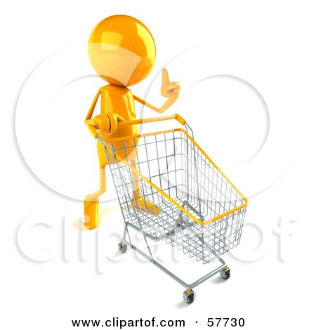 3d Yellow Bob Character Pushing A Shopping Cart - Version 1 Posters, Art Prints